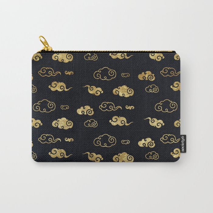 Black and Gold Asian Style Cloud Pattern Carry-All Pouch