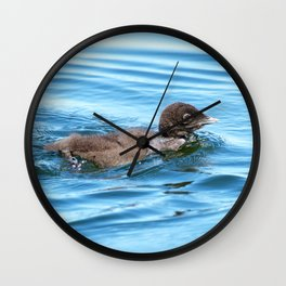Baby loon solo swim Wall Clock