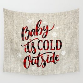 1b91b94ed6 Baby It s Cold Red Buffalo Plaid Wall Tapestry