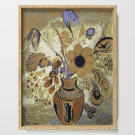 Etruscan Vase with Flowers (1900-1910) by Odilon Redon Serving Tray