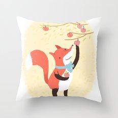 Fox apple picking Throw Pillow
