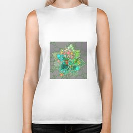 Bubble Green Abstract Flower Design Biker Tank