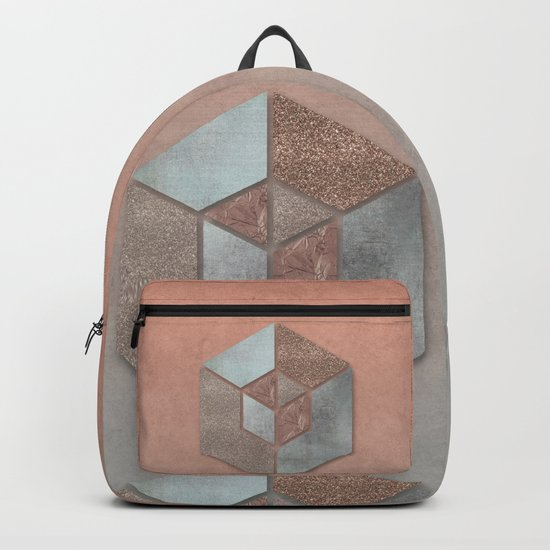 Shimmering Hexagon Rose Gold Apricot Grey Backpack