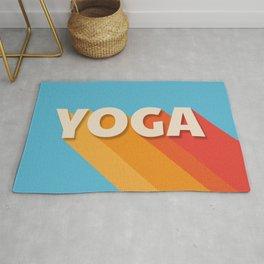 Yoga retro typography Rug