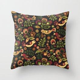 Folk Birds Throw Pillow