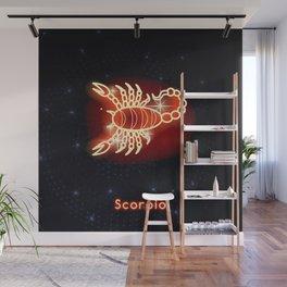 Zodiac red neon — Scorpio Wall Mural