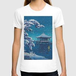 Tsuchiya Kôitsu Japanese Woodblock Vintage Print Blue Winter Snow Pagoda On Lake T-shirt