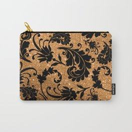 Vintage black faux gold glitter floral damask pattern Carry-All Pouch