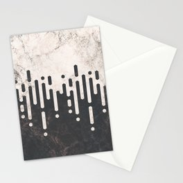 Marble and Geometric Diamond Drips, in Charcoal Grey and Light Beige Stationery Cards