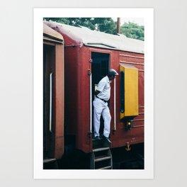 Man in Train Art Print