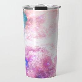 Abstract colorful turquoise pink galaxy nebula Travel Mug