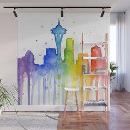 Seattle Skyline Rainbow Watercolor Wall Mural