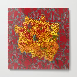 FlowerPower in Red and Yellow Metal Print