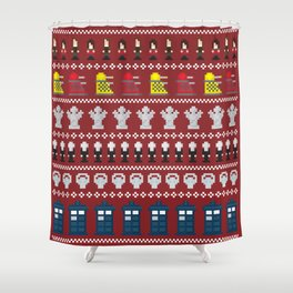 Doctor Who - Time of The Doctor - 8 bit Christmas Special Shower Curtain