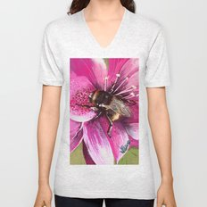 Bee on flower 13 Unisex V-Neck