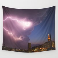 cleveland Wall Tapestries featuring Storm Approaches Cleveland by Jeffrey Stroup