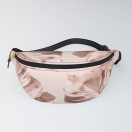 Rose Gold Monstera Leaves on Blush Pink Fanny Pack