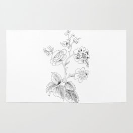 black-and-white arrangement of flowers and leaves Rug