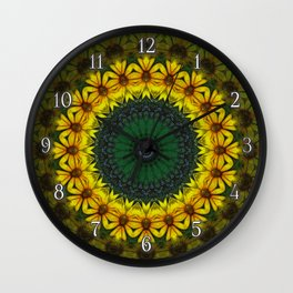 Large Yellow Wildflower Kaleidoscope Art 8 Wall Clock