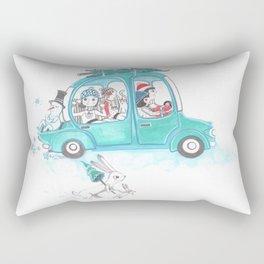 Snowy Stowaway Rectangular Pillow
