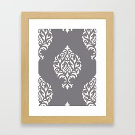Orna Damask Pattern Cream on Grey Framed Art Print