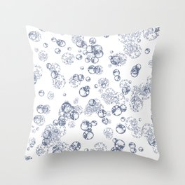 Arabidopsis thaliana (thale cress) plant protoplast cells under the microscope blue on white Throw Pillow