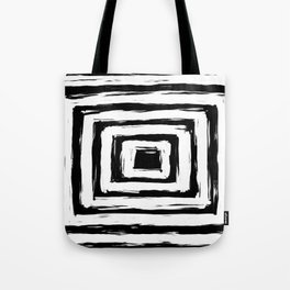 Minimal Black and White Square Rectangle Pattern Tote Bag