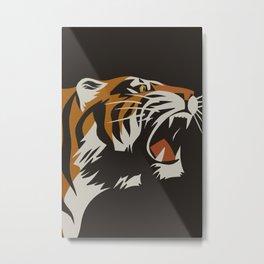 Tiger, Vintage Minimalist Art Metal Print