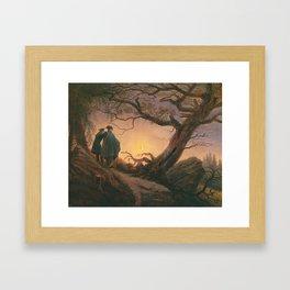Deux Hommes contemplant la Lune  Huile sur toile 1820  by Caspar David Friedrich 1774-1840 Framed Art Print