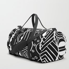 Wavy Tribal Lines with Shapes - White on Black - Doodle Drawing Duffle Bag