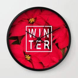 Beautiful Winter Typography and Poinsettias Wall Clock