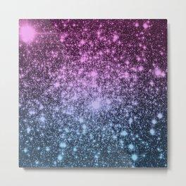 Galaxy Sparkle Stars Dark Mauve Steel Blue Metal Print