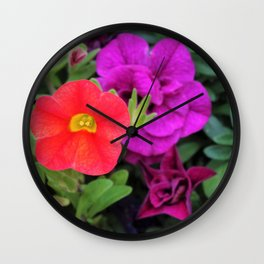 Calibrachoa Flowers Wall Clock