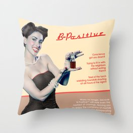 """B-Positive"" - The Playful Pinup - Vampire Parody Pinup Girl Ad by Maxwell H. Johnson Throw Pillow"