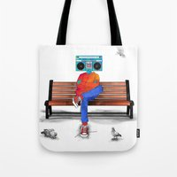 radiohead Tote Bags featuring Radiohead by Amarelle07