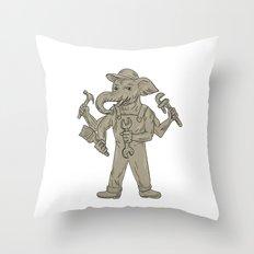 Ganesha Elephant Handyman Tools Drawing Throw Pillow