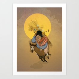 Cholita on the run Art Print