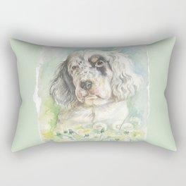 English Setter puppy watercolor painting Cute dog portrait Rectangular Pillow
