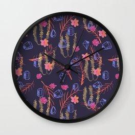 Dark Mystic Gems - Boho Pattern on Deep Purple Wall Clock