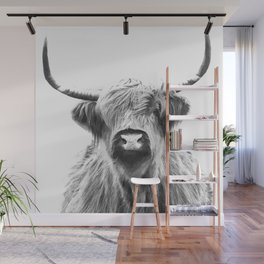 Black and White Highland Cow Portrait Wall Mural