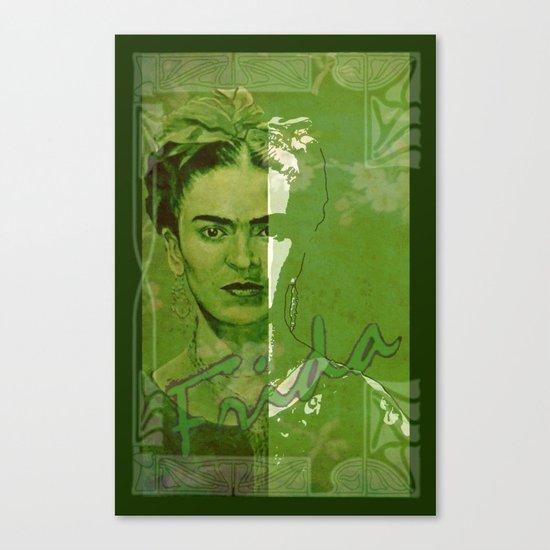 Frida Kahlo - between worlds - green Canvas Print