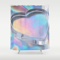 holographic Shower Curtains featuring Glass Heart by Varvara Repnikova