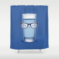 glasses Shower Curtains featuring Glasses by Nabhan Abdullatif