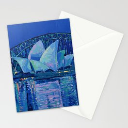 Sydney Opera House at Night - contemporary palette knife city landscape by Adriana Dziuba Stationery Cards