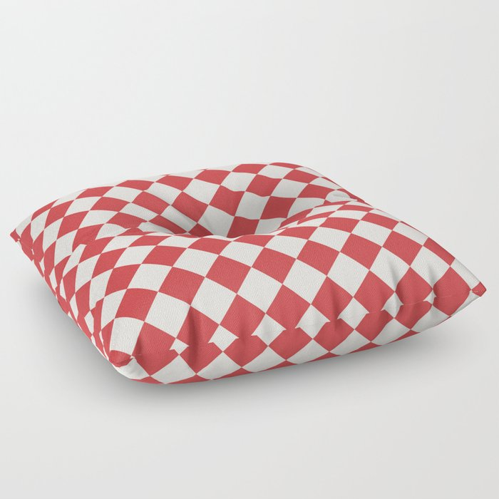 Red And White Checkered Diamond Pattern Floor Pillow By Boutiquebijou Society6