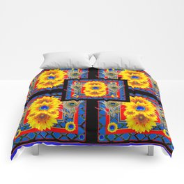 BLUE PEACOCK JEWELED SUNFLOWERS DECO ABSTRACT Comforters