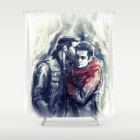 stiles Shower Curtains featuring sterek III by AkiMao