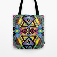 totem Tote Bags featuring Totem by Amrei Hofstätter
