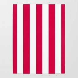 Rich carmine fuchsia - solid color - white vertical lines pattern Poster