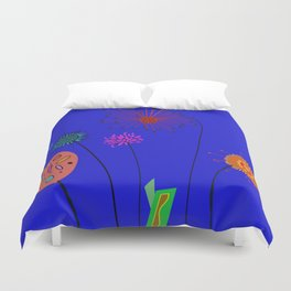 Silly Space-Age Flowers Blue Background Duvet Cover